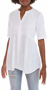 New Directions® Women's Short Sleeve Mixed Media Crinkle Top