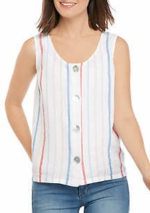 New Directions® Women's Striped Button Up Tank