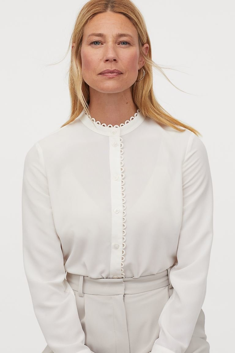 Scallop-edged Crêped Blouse