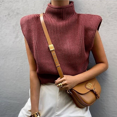 Turtleneck Sleeveless Women Vest Sweater 2020 White Shoulder Pads Pullover Knitted Loose 2020 Autumn Winter Casual Jumper