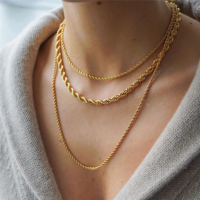 Peri'sBox Gold Color Twisted Rope Chain Necklaces Chunky Wide Thin Chains Necklaces for Women Minimalist Necklace Instajewelry