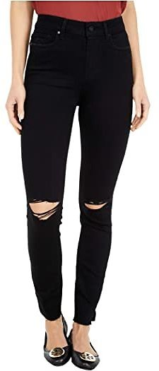 Paige Hoxton Ankle w/ Outseam Slit + Raw Hem in Black Dawn Destructed
