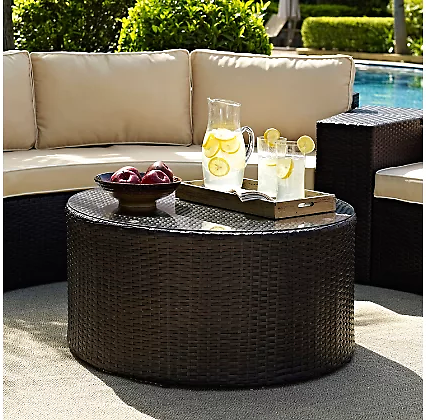Catalina Outdoor Wicker Round Coffee Table | Ashley Furniture HomeStore