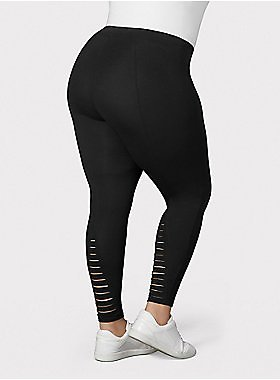 Premium Legging - Ladder Slashed Back Black