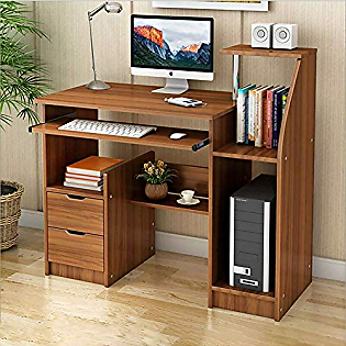 Desk Computer Desk with Drawers and Speaker Shelves Pc Laptop Table Computer Desk Wood Computer Table Writing Desk Worktable Workstation-c 100x50x90cm(39x20x35in)