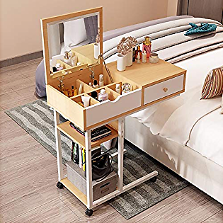 XM&LZ Multifunction Five-Grid Dressing Table,Movable Computer Writing Desk with Mirror Drawer,Modern Laptop Pc Table for Home Office Yellow 80x40cm(31x16inch)