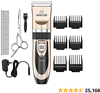 Oneisall Dog Shaver Clippers Low Noise Rechargeable Cordless Electric Quiet Hair Clippers Set 2020