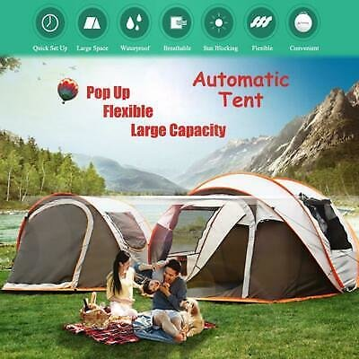 5-8 Persons Camping Tent Waterproof Auto Setup UV Sun Shelters Outdoor Hiking