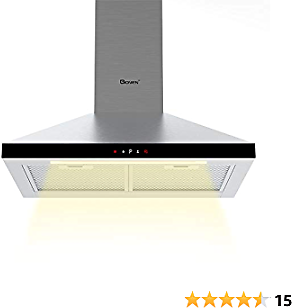 GIONIEN Wall-Mounted Cooker Hoods,60cm Chimney Extractor Hood, Stainless Steel Range Hood, Recirculating Ducting Ventilation Mode with Grease Filters, Compatible with CARBFILT4 Carbon Filters