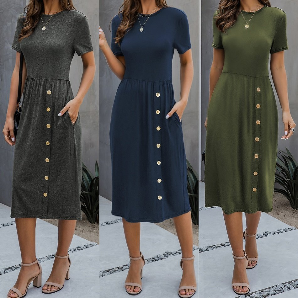 Casual Short-sleeve Solid Collect Waist Dress