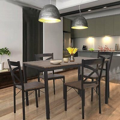 VILOBOS 5PC Wood Dining Table Set 4 Chairs Seat Breakfast Kitchen Home Furniture 655881107203