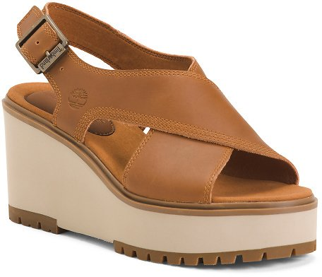 Leather Comfort Cross Band Sandals