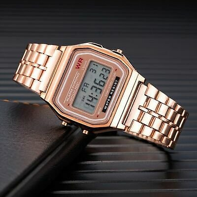Luxury Women's Stainless Steel Watches Women Fashion LED Digital RoseGold Silver