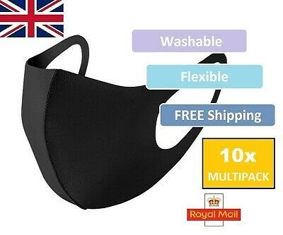 10 PACK Face Mask Black Unisex - Washable Reusable Protection Half Face Cover UK
