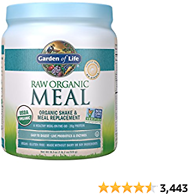 Garden of Life Raw Organic Meal Replacement Powder - Lightly Sweet, 14 Servings, 20g Plant Based Protein Powder, Superfoods, Greens, Vitamins Minerals & Probiotics, All-in-One Meal Replacement Shake
