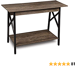 GreenForest Console Table Industrial Design Sofa Table with Storage Entryway Table for Living Room, Easy Assembly, Dark Walnut