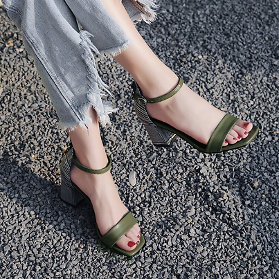 Big Size 9 10 11 High Heels Sandals Women Shoes Woman Summer Ladies One-word Strap Buckled Sandals with Thick Heels