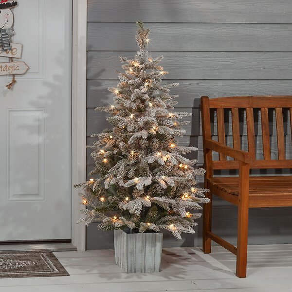 SALE 15% OFF ON Potted Natural Cut Flocked 4.5' Silver and Green Fir Trees Artificial Christmas Tree with 70 Clear White Light