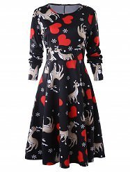 Heart Deer Print A Line Dress - S