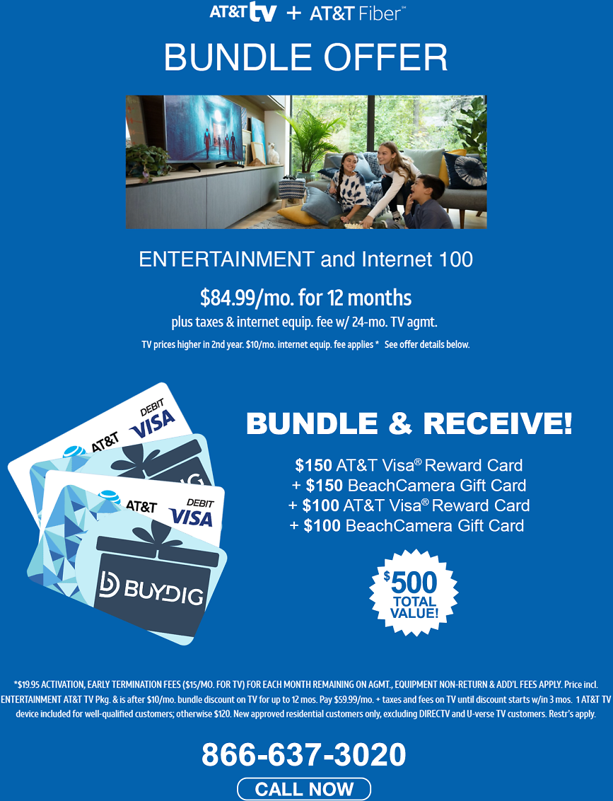Buydig/AT&T TV Offer! Up to $500 in Reward Gift Cards with Activation!