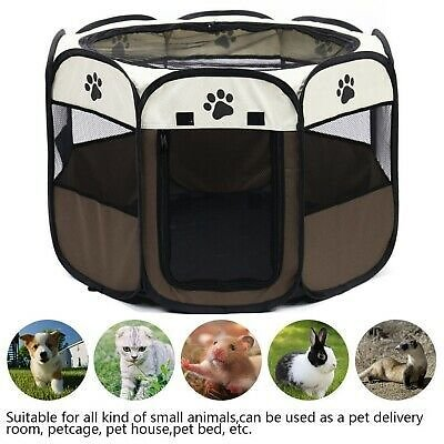 Pet Dog Cat Tent Bed House Puppy Outdoor Exercise Fence Kennel Portable Foldable
