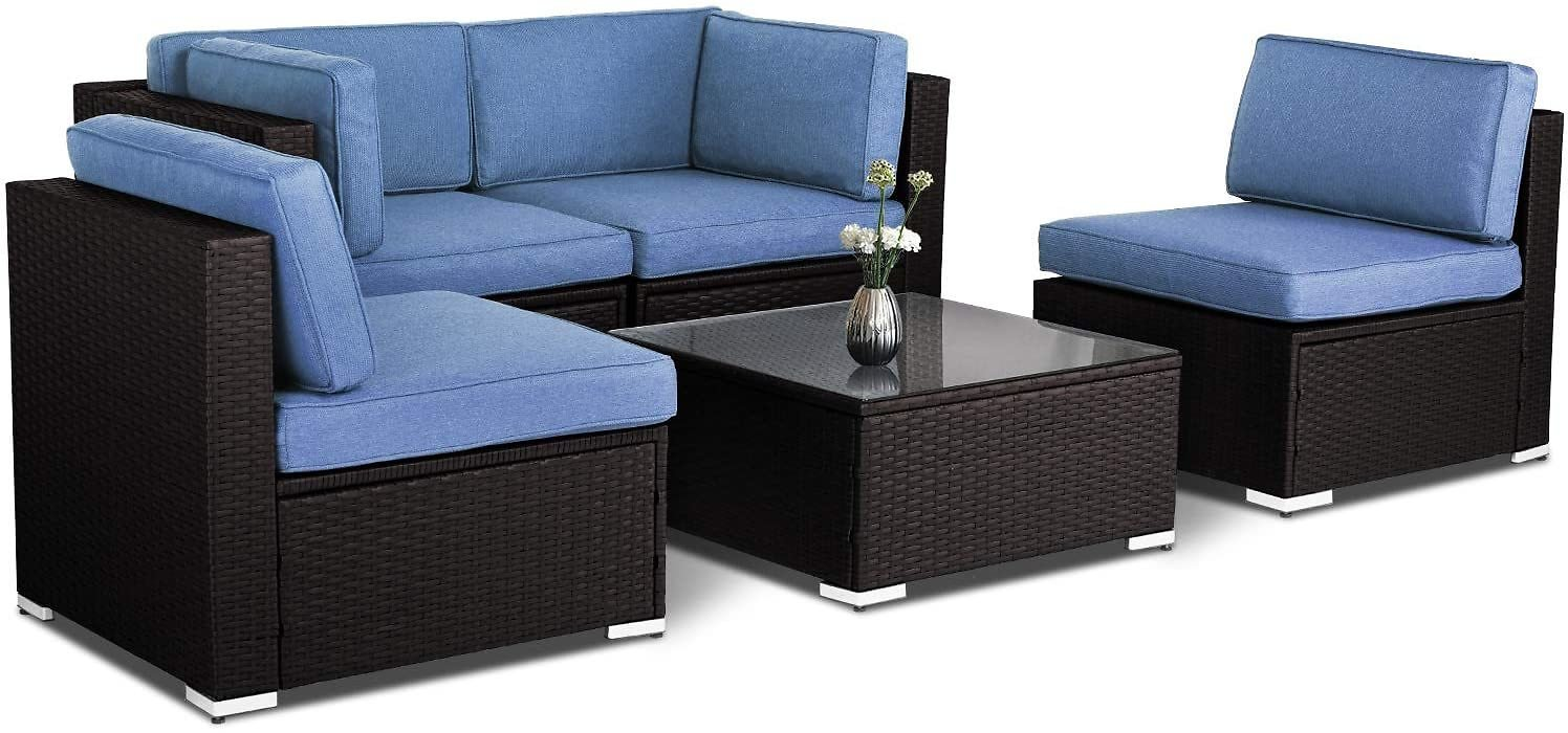 SUNCROWN 5pcs Outdoor Furniture Patio Conversation Set All Weather Chocolate Brown Wicker Sectional Sofa with Washable Cushion,