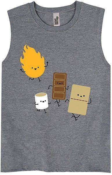 Athletic Heather Fire & S'mores Muscle Tank - Boys