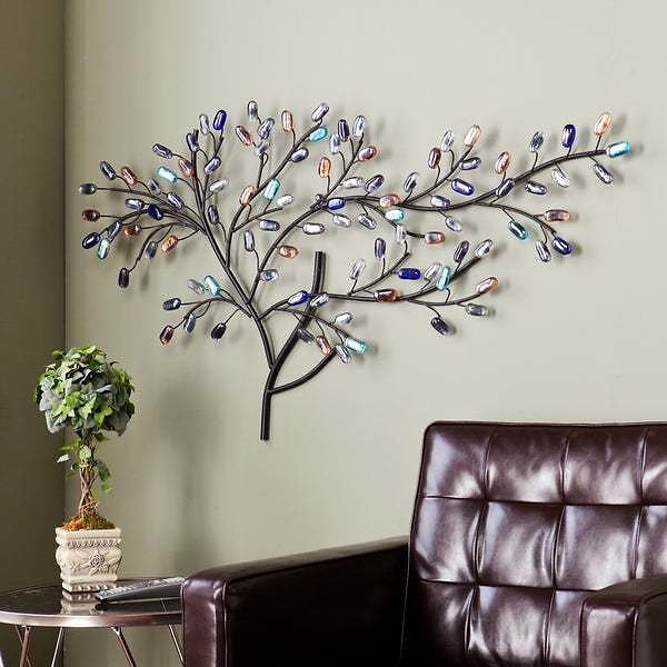 Willow Multicolored Metal and Glass Tree Wall Sculpture