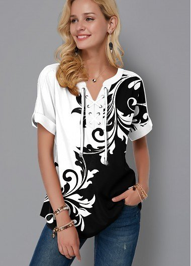 Clearance ROTITA Lace Up Color Block Tribal Print Blouse