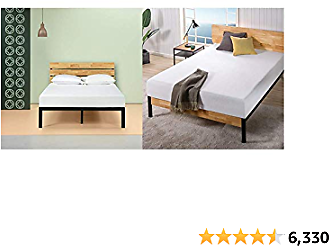 Zinus Paul Metal and Wood Platform Bed with Wood Slat Support, Queen & Ultima 10