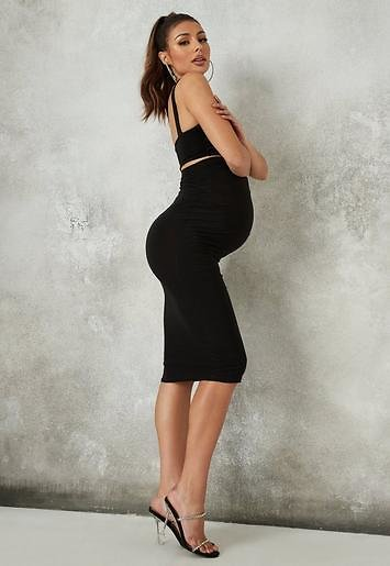 Missguided - Black Maternity Slinky Square Neck Top and Midi Skirt Co Ord Set