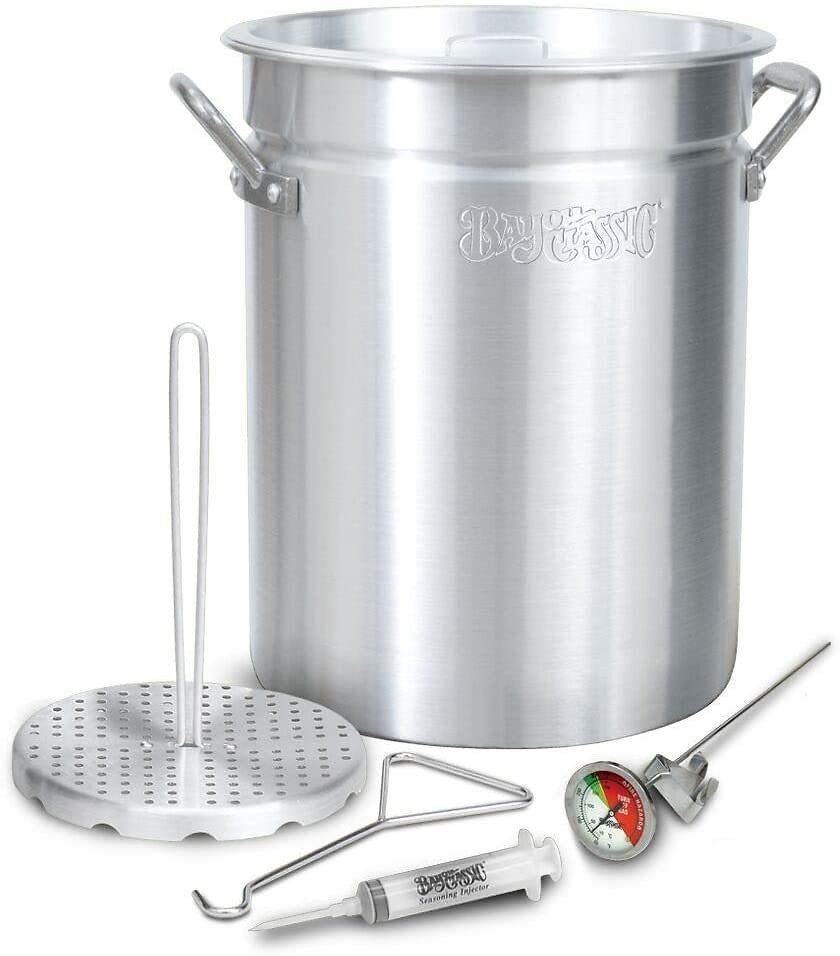 Bayou Classic 3025 30Qt Turkey Fryer Pot, 32 Quart, Silver