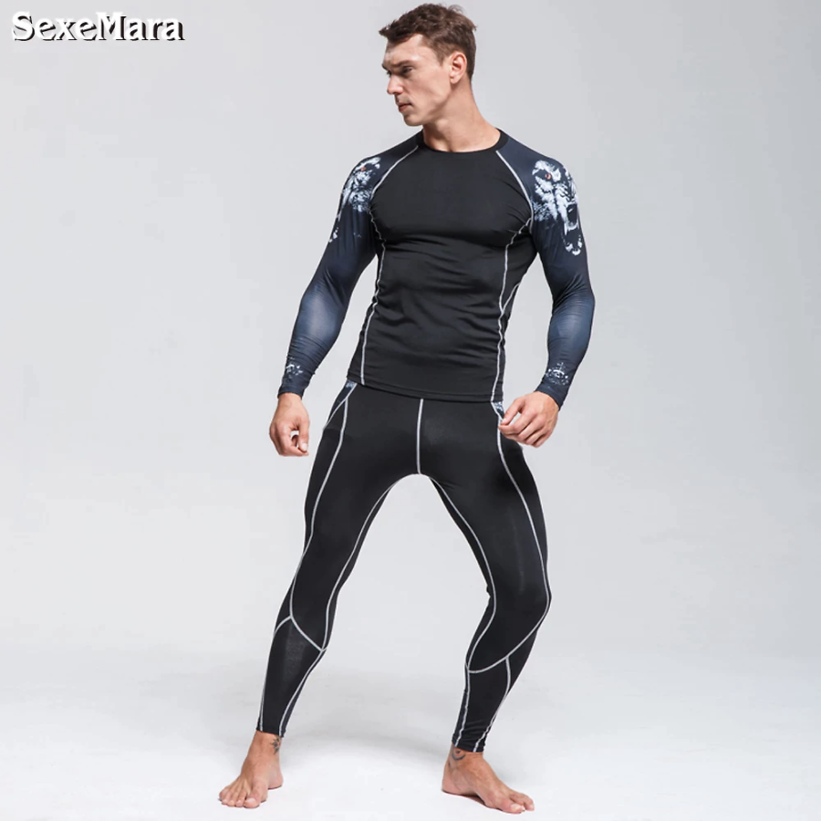 New Men's Thermal Underwear Sports Suit Tights Men Long Johns Jogging Leggings Fitness Gym Clothing Leggings Rashgard Male