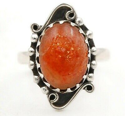 Natural Sun Stone 925 Solid Sterling Silver Ring Jewelry Sz 8.5 EZ26-7
