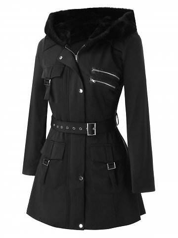 Plus Size Pockets Zippered Buckles Belted Coat