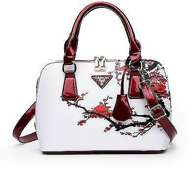 Women's White Red Floral Cherry Blossom Designer Handbag Ladies Shoulder Bag New