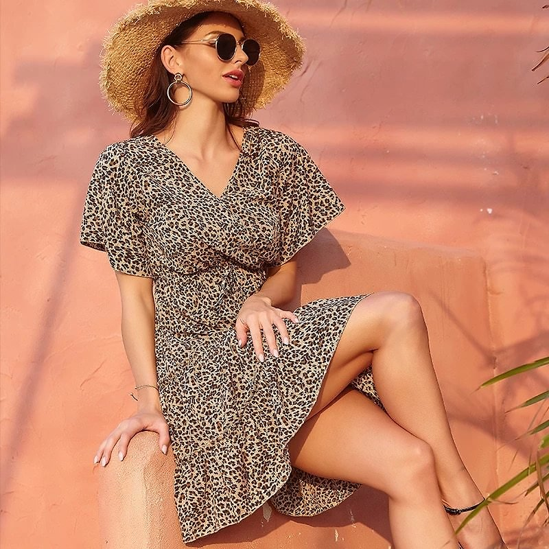 Women Summer Dress 2020 V-neck Flare Sleeve Mini Chiffon Beach Floral Party Casual Leopard Dress Vintage Clothes Frock for Women