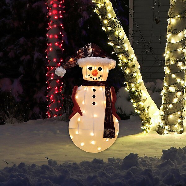 HUGE SALE OF 33% OFF ON Candy Cane Lane 3D Pre-Lit Yard Art Décor Snowman in Camo Jacket Lighted Display