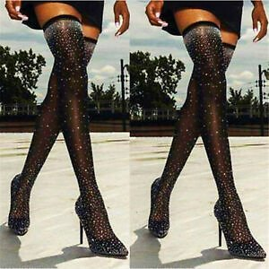 Women Stocking Rhinestone Thigh High Boots Over The Knee Stiletto Party Pumps