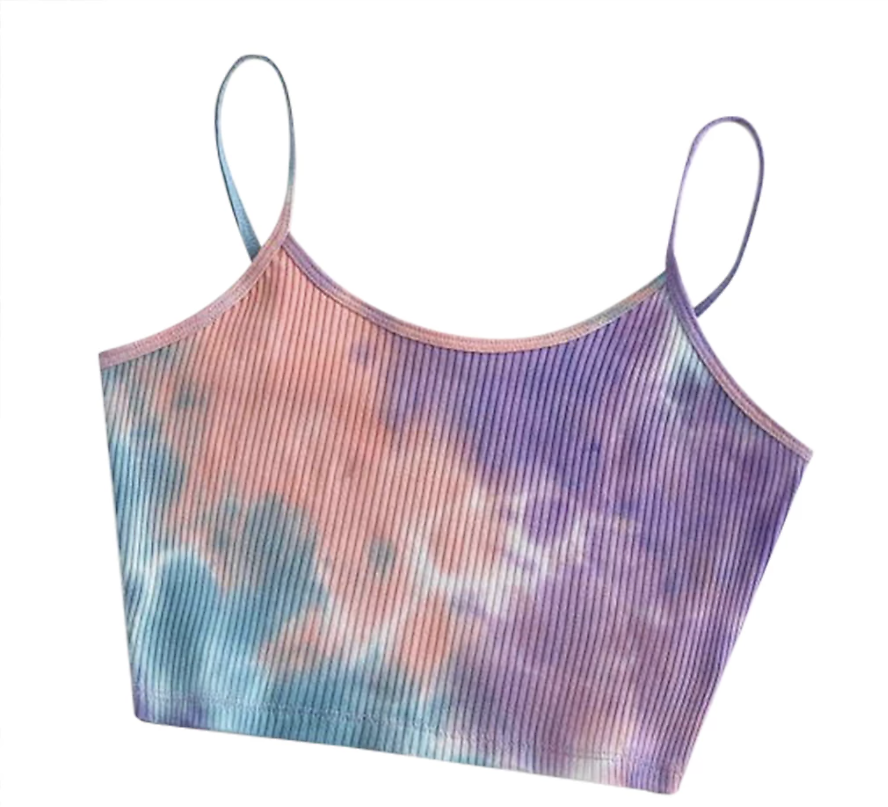 Women Fashion Tie Dye Print Tank Vest Summer Sleeveless Sexy Crop Tops Ribbed Knitted Tunic Leisure Basic Bodycon Bra Camis