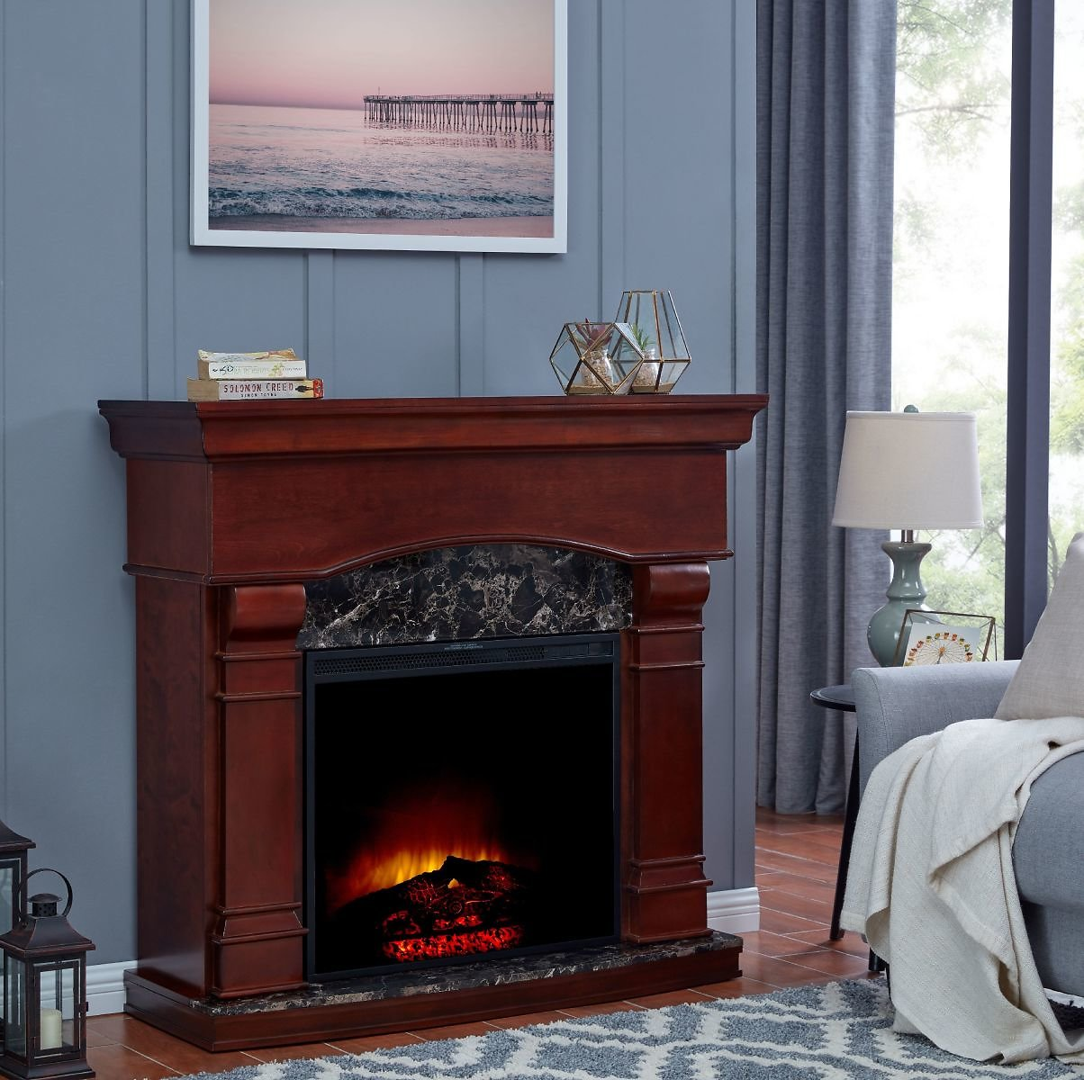 Bold Flame 47 Inch Electric Fireplace in Walnut