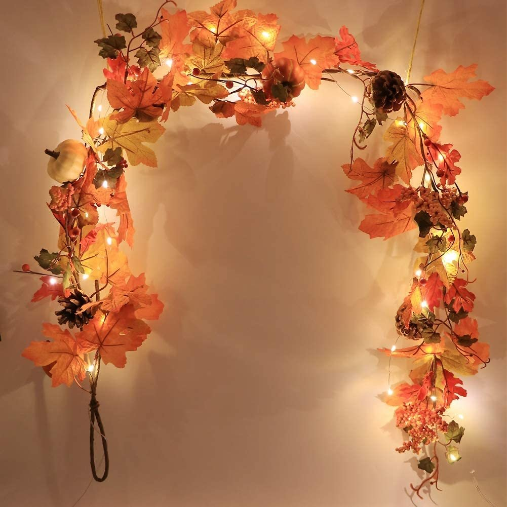 Artificial Fall Maple Leaf Garland with White Pumpkins Real Pine Cones Red Berry