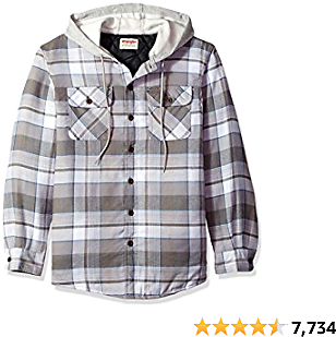 Wrangler Authentics Best Men's Long Sleeve Quilted Lined Flannel Shirt Jacket With Hood