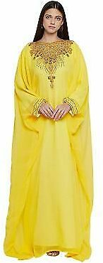 2020 MOROCCAN DUBAI ARABIC KAFTAN PARTY WEAR YELLOW ISLAMIC MAXI GEORGETTE DRESS