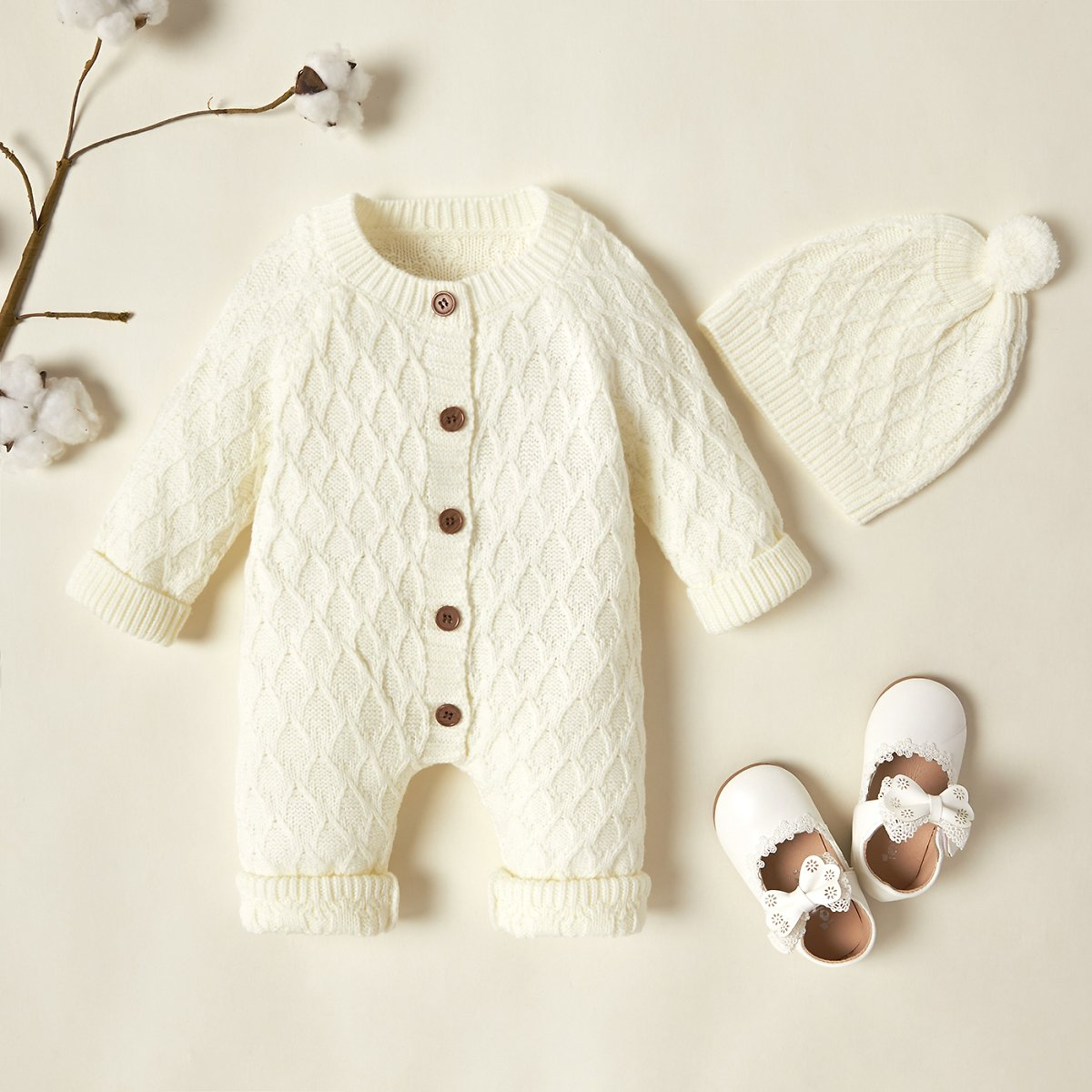 2-piece Baby Solid Button Knitted Jumpsuit with Hat Set