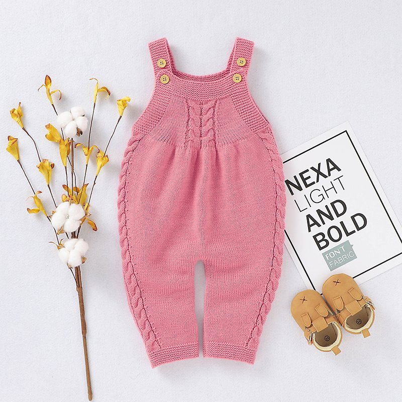 Baby Girl Knitted Overalls