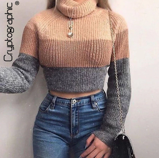 Cryptographic Fashion Women's Turtlenecks Sweaters Striped Long Sleeve Knitted Pullovers Females Jumpers Cropped Sweaters Fall