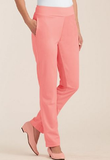 Double Knit Flat-Waist Pull-On Pants - Clearance Price