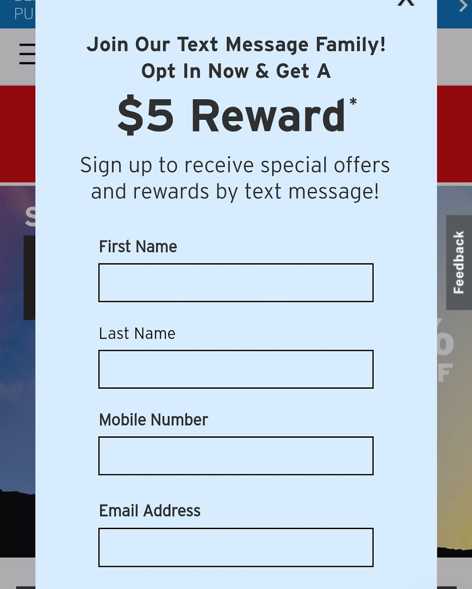 Free $5 Reward When You Sign Up for Text