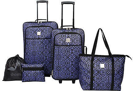 Scroll Damask 5-Piece Luggage Set